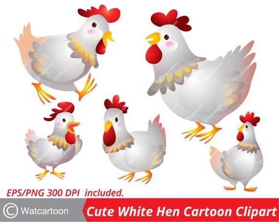 Jolie Belle Blanc Poule Cartoon Agissant Vector Clip Art Pour Etsy