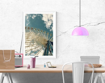 Ferris wheel, clouds and blue sky, architecture poster with vintage character, decoration for the youth room, size 45 x 30 cm