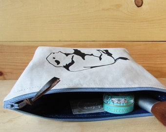 Bison Travel Bag - Makeup Bag - Toiletry Bag - Best Friend Gift - Hand Printed - Hand Sewn Zipper Pouch - Cosmetic Bag - Toiletries Storage