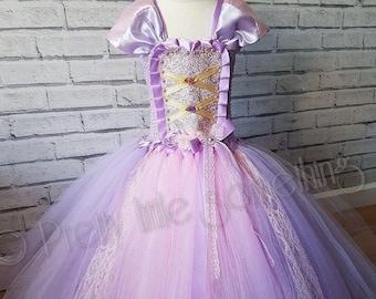 Rapunzel inspired tutu dress,  princess tutu, party dress, pink ball gown, photo prop, birthday outfit, girls dress, fancy dress,halloween