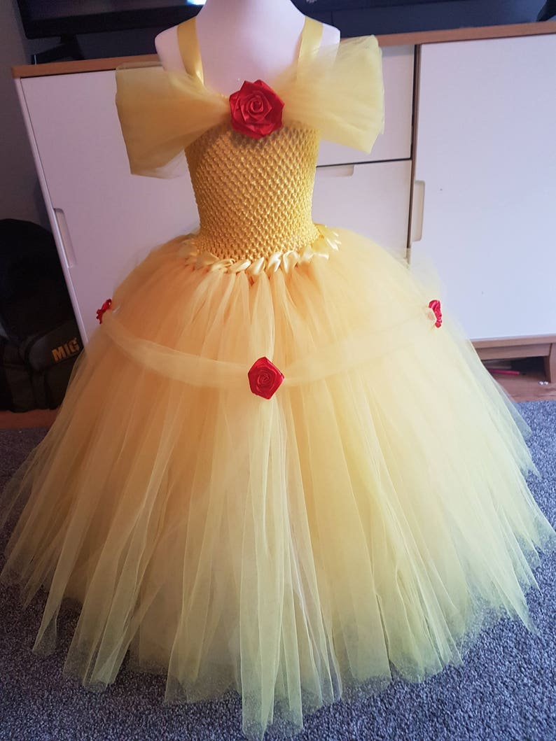 princess inspired tutu dress Princess Belle tutu dress birthday outfit ball gown pageant costume yellow tutu