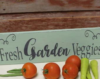Fresh Garden Veggies. Wood Sign. Wood Sign.Framed Wood Sign. Wall Decor. Hand Painted. Rustic.Farmers Market