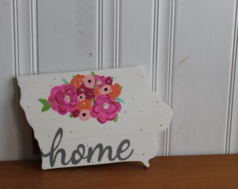 Wood Sign. State Sign. Home Sign. Wall Decor. Hand Painted.Lettered Sign.Iowa Sign. Flower Sign.