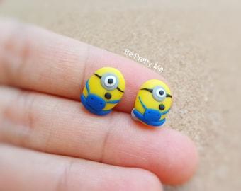 Minion Stud Earrings. Handmade Polymer Clay. Cute Gift for Everyone