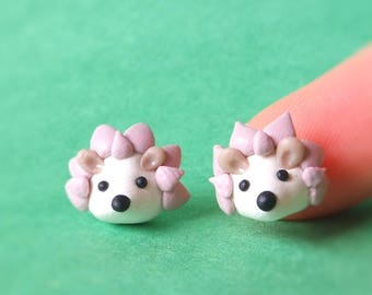 Cute pinkie hedgehog stud earrings. Handmade polymer clay jewellery. Cute gift for everyone
