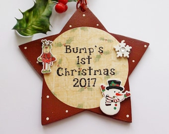 Bumps First Christmas 2017 Wooden Star Gift Plaque