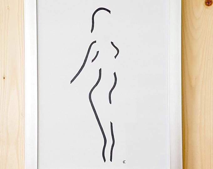 "Poster pentekening vrouw ""Louise"" - Atelier Meesters"