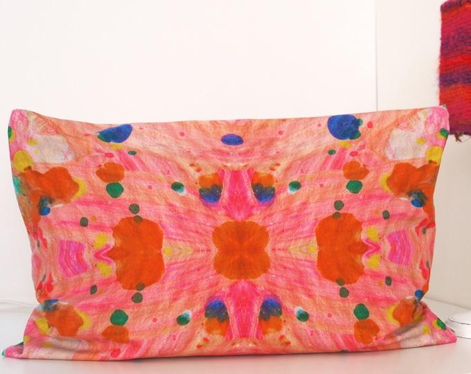"""Kleurrijke biologische kussenhoes 35 x 50 cm """"Verfspetters oranje vlekken"""" - Atelier Meesters"""