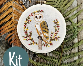 Owl Embroidery Kit |  Embroidery diy | Contemporary Embroidery | Thread painting