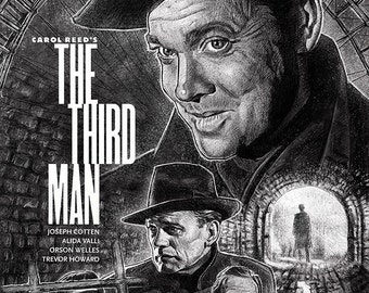 The Third Man illustration movie poster A3 print