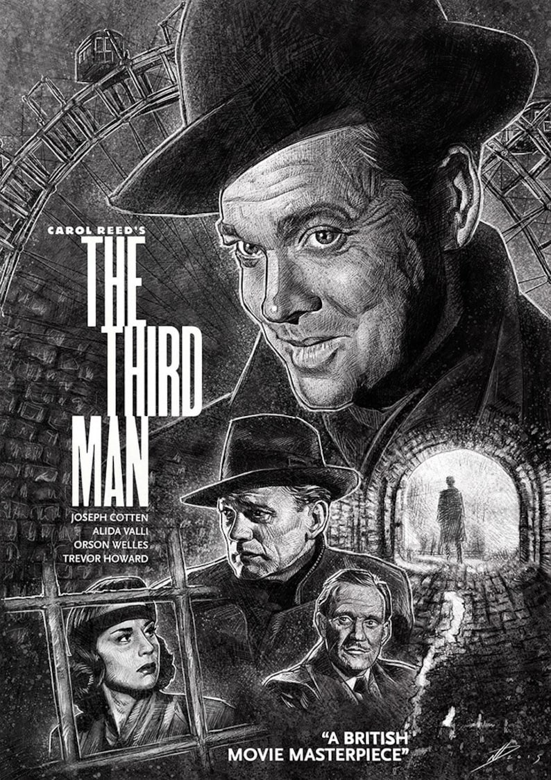 The Third Man illustration movie poster A3 print image 0