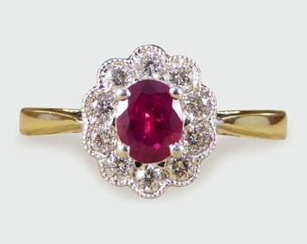 Ruby and Diamond Cluster Engagement Ring in 18ct Gold RG528
