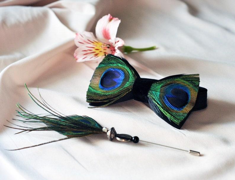 boho style peacock feather tie designer bowtie feather bow tie Black bow tie with peacock feathers and rooster feathers peacock feather