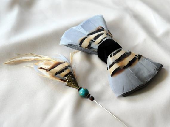 Gray Bird Bow Tie