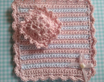 Little blanket and pillow for dollhouses 1:12 scale. Miniature dollhouse baby blankets