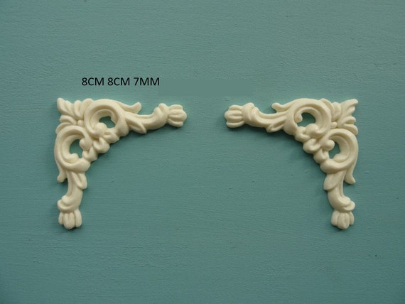 Decorative shabby chic ornate scrolls x 2 applique resin furniture moulding O22A