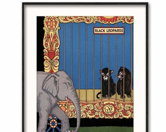 "Vintage Circus Art (Digital Print, Instant Download Artwork, Printable jpg Illustration) -- 1930s ""Elephant Parade"""