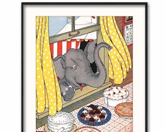 "Elephant Digital Nursery Art (Download Printable Kids Gift, Circus Party Decor, Dessert Print) -- 1930s ""Dessert!"""