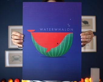 Affiche poster WATERWHALON - illustration d'une baleine - pastèque pour enfant ou adulte