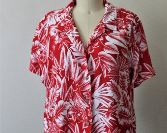 80s Gloria Vanderbilt tropical rayon button up ladies blouse beach party sz large orange reds greens