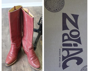 f495e1783c Vintage 1970s 80s stacked heel sienna rust red Leather high boho Zodiac  Boots // Size US 7 1/2
