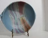 Vintage 1960s Signed Frank DiGangi artist studio Stunning Large Jade Blue Pottery Bowl Earthenware MCM Contemporary