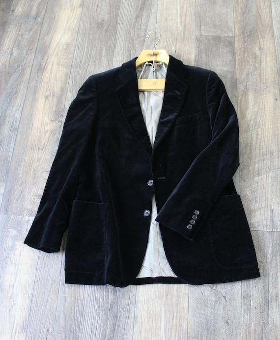 Vintage 1960s 1970s Black plush velvet blazer cock