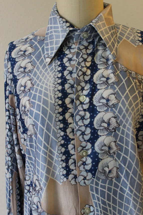Vintage 70s Harvard Square Disco Button Shirt All… - image 4