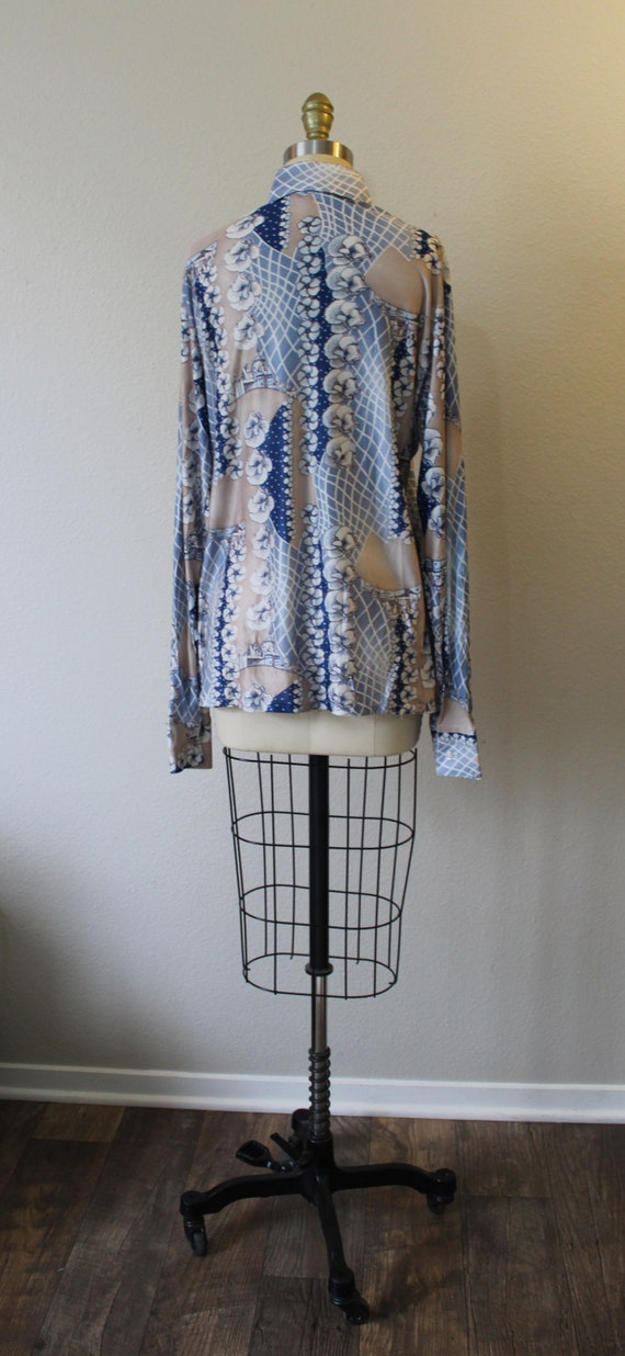 Vintage 70s Harvard Square Disco Button Shirt All… - image 7