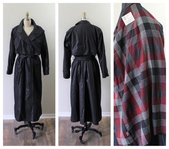 Vintage 1970s 80s London Fog All Weather Black With Red Plaid Zip Out Lining Wrap Trench Coat Jacket // Large // Us 12 14 by Etsy