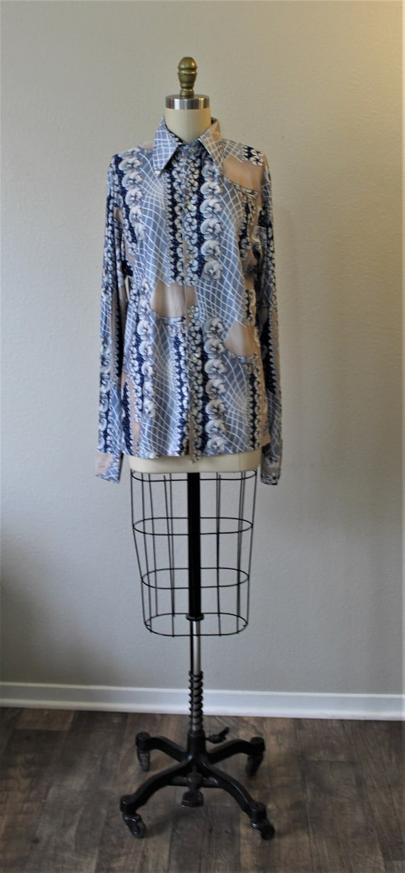Vintage 70s Harvard Square Disco Button Shirt All… - image 2