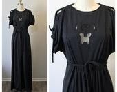 Vintage 1970s 70 39 s Jody T California Black Rose Sheer cut out Lace Cold Shoulder Boho Victorian Maxi Dress US 4 6 8 s med