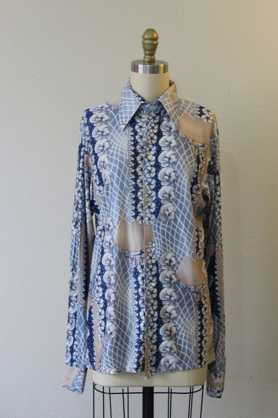 Vintage 70s Harvard Square Disco Button Shirt All… - image 3