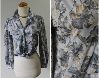 Vintage 60's 70's RHODES CALIFORNIA Gray Morning Glory Floral Blouse Shirt Top