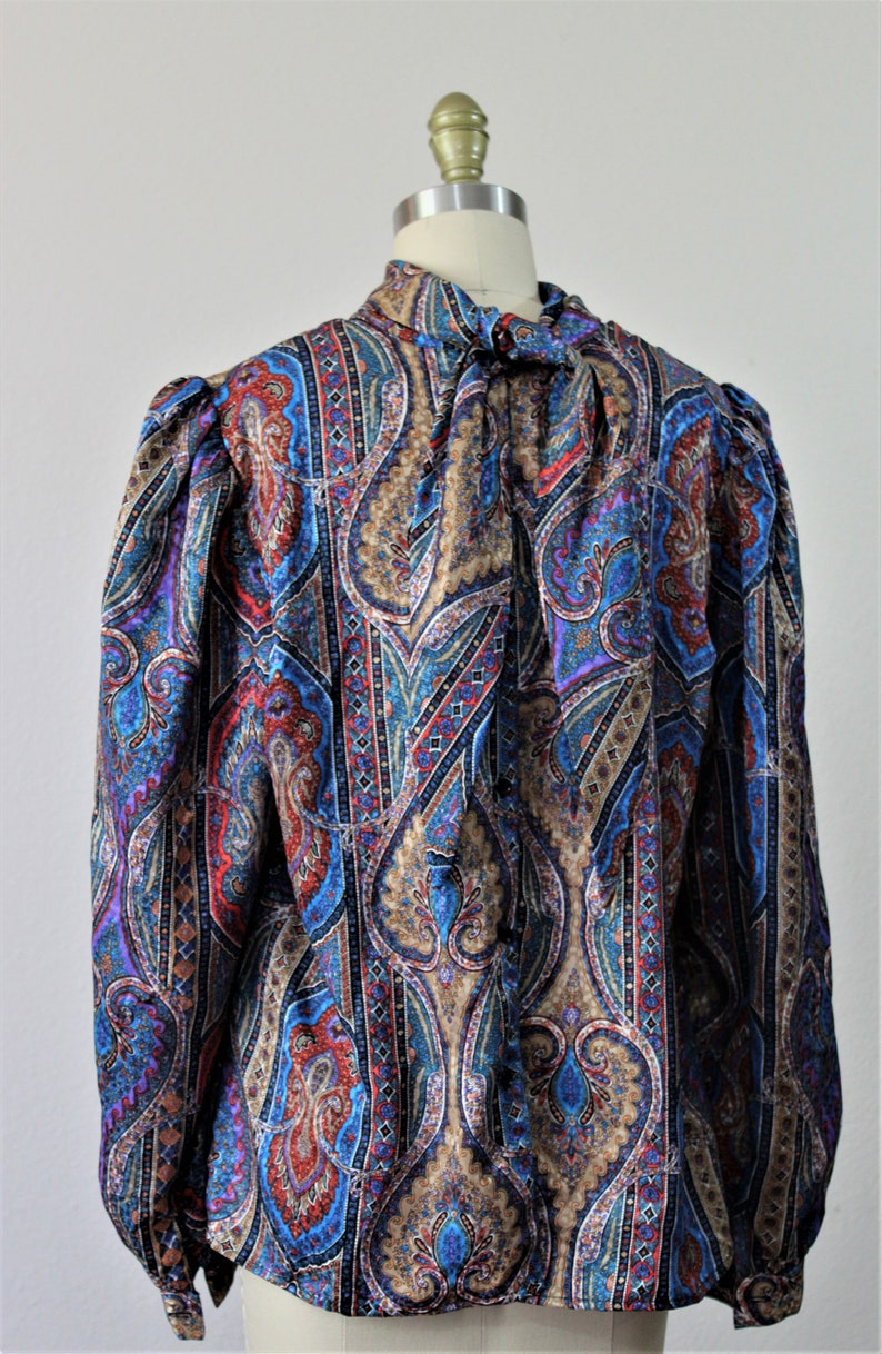 Vintage 80s Navy Blue Paisley back bow button ascot kitten bow tie top blouse shirt  Modern 10 12  Large XL