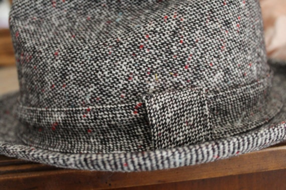 Vintage 60's 70's Unisex Brown Wool Tweed FEDORA … - image 4