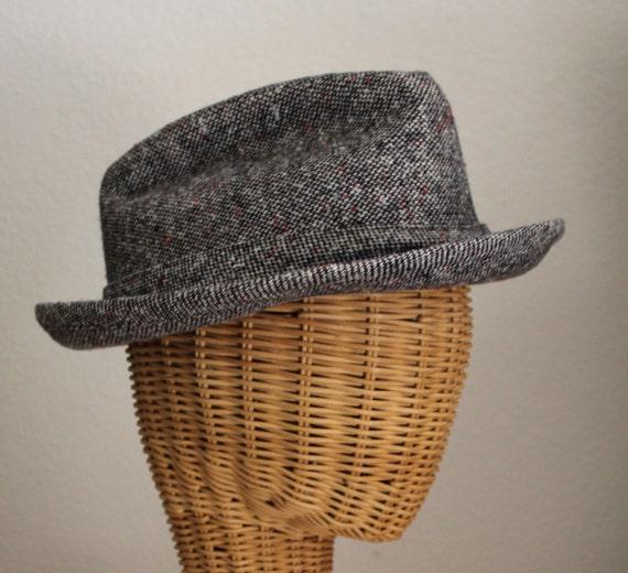 Vintage 60's 70's Unisex Brown Wool Tweed FEDORA … - image 2