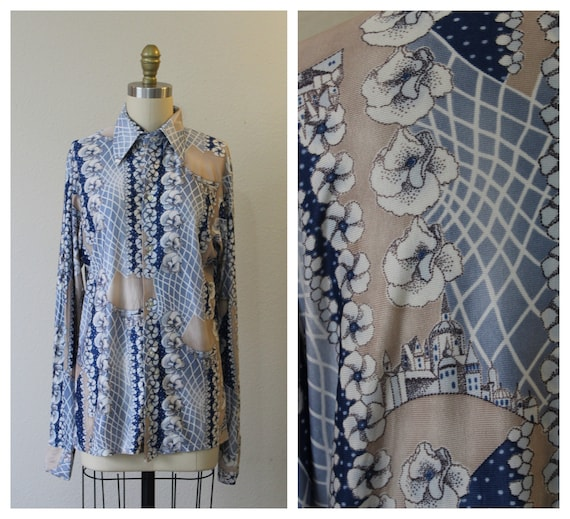 Vintage 70s Harvard Square Disco Button Shirt All… - image 1