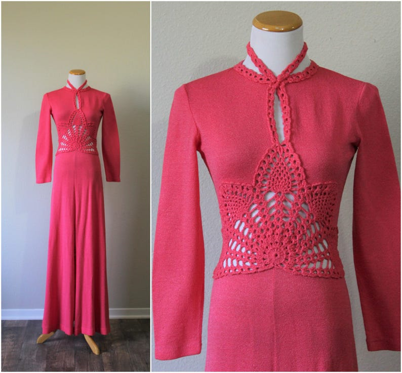 Vintage 1960s 70 s Miss Dolphin California Hot Pink Open  a7a8a95e71a0