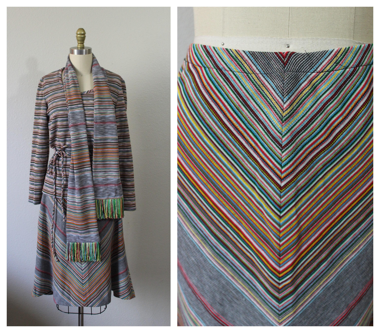 Vintage Scarf Styles -1920s to 1960s Vintage 1970S Leslie Fay Rainbow Chevron Stipe 4 Piece Top Skirt Fringe Scarf Knit Dress Set Nos  Us 2 6 Xs Small $24.00 AT vintagedancer.com