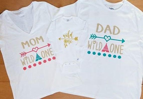 Family Birthday Set Wild One First Shirts Mom Of
