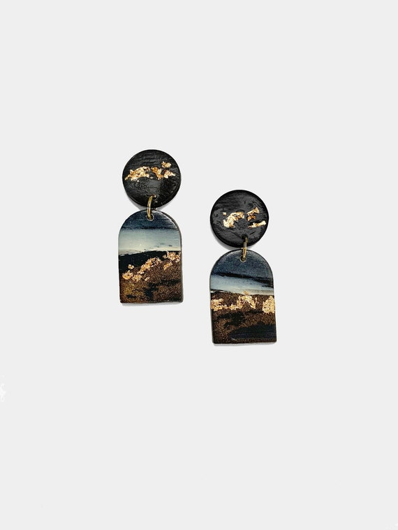 Handmade polymer clay Earthly Collection Limited edition Charcoal smoke gold speckled polymer clay stud dangle earrings