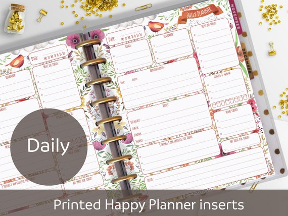 PRINTED Daily Classic Happy Planner Inserts, Daily Planner Refill, Printed  & Punched, Daily Schedule, Happy Planner Insert, Nilaria