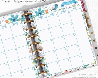 2021, 2022, 2023, 2024, 2025, 2026 PRINTED Monthly Classic Happy Planner Inserts, 9 discs, Planner Refill, Discbound Punched, Arinne