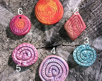 Original and traditional Labyrinth pendants by Labyrinth designer Donna Lindeen Harrington, carved polymer clay, light weight, great gift