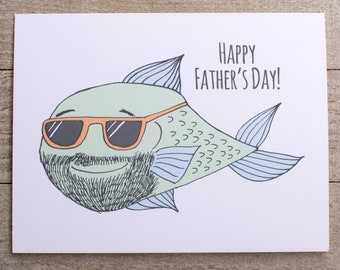 Fish Father's Day Card, Fisherman, Fisher, Hunter, Hipster, Cool Dad, Daddy, Mustache, beard, country, from a daughter, son, boy, girl