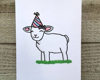 Lamb birthday blank birthday card, little sheep, hand drawn digital art, digital pastel drawing, card for mother, sister, aunt, grandmother