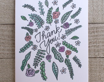 Floral Thank You Card, Hand Drawn, Illustration, Classic Cursive, Hand Lettering, Card for mom, sister, brother, father, aunt, un