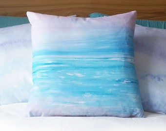 """Smooth cotton canvas cushion, featuring my abstract seascape 'Blissful' design, 18"""" x 18"""" includes pad."""