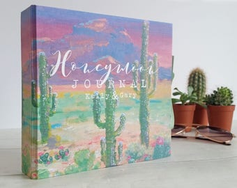 Handmade photo album / travel journal, featuring my original design 'Vibrant Desert'. Personalised wording of your choice